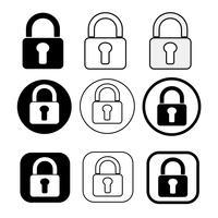 Set van eenvoudige teken vergrendelingspictogram