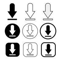 set van eenvoudige teken download icoon vector
