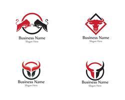 Bull hoofd hoorn rode logo dierlijke vector