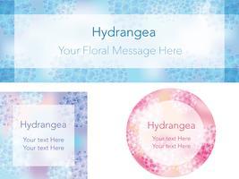 Set van drie frames / achtergronden met hortensia's. vector