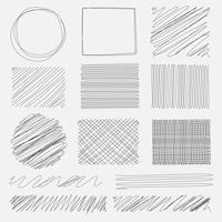 De vectorreeks van lijn grunge borstelt texturen. Handgemaakte vectorillustratie.