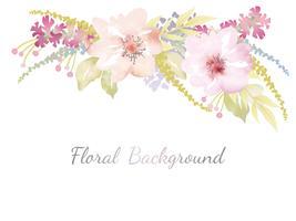 Waterverf bloemenachtergrond met tekstruimte. vector