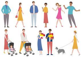 Set van mensen in verschillende levensstijl geïsoleerd op een witte achtergrond. vector