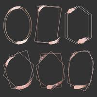 Set geometrische roze gouden frame, decoratief element voor bruiloft kaart, uitnodigingen en logo. Vector illustratie.