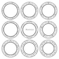 Aantal decoratieve ronde frames vintage stijl. Vector illustratie.