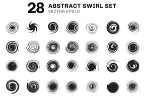 Set van abstracte zwarte spiralen en krul beweging elementen collectie op witte achtergrond. U kunt gebruiken voor pictogrammen, ingrediëntbrochure, poster, flyer, folder, bannerweb, enz vector