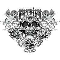 agressief embleem met schedel