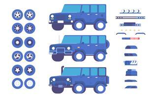 Jeep auto-onderdelen maatwerk mod illustratie set