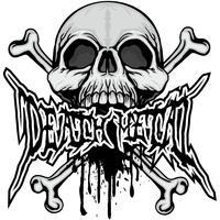 agressief embleem met schedel vector