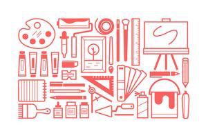 Platte creatieve tools bundel instellen