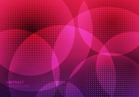 Abstracte cirkels die met halftone op roze achtergrond overlappen. Geometrisch gebruik van het sjabloonontwerp voor omslagbrochure, affiche, bannerweb, pamflet, vlieger, enz.