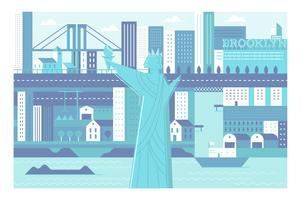 Stadsoriëntatiepunt New York-illustratieachtergrond