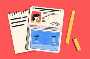 Paspoort reizen essentials illustratie set vector