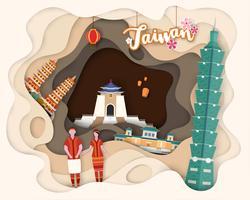 Ontwerp met papiersnit van Tourist Travel Taiwan vector