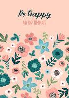 Vector bloemenontwerp met leuke bloemen. Sjabloon voor kaart, poster, flyer, home decor