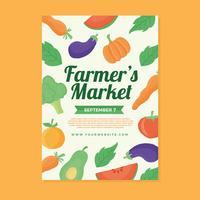 Boerenmarkt Flyer ontwerpsjabloon vector
