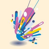 Abstracte moderne stijl met samenstelling gemaakt van verschillende afgeronde vormen in kleurrijke vormen van het pop-artontwerp. Geometrische elementen perspectief achtergrond met schaduw halftone vector