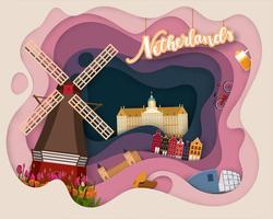 Ontwerp met papiersnit van Tourist Travel Netherland vector