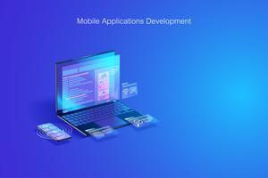 Webontwikkeling, softwarecodering, programmaontwikkeling op laptop- en smartphoneconcept vector