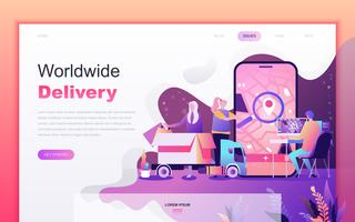 Modern flat cartoon design concept van wereldwijde levering voor website en mobiele app-ontwikkeling. Bestemmingspaginasjabloon. Ingericht mensenkarakter voor webpagina of homepage. Vector illustratie.