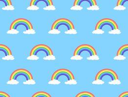 Vectorillustratie van regenboog en wolken naadloos patroon op blauwe achtergrond