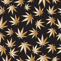 De gouden kleur van marihuana of cannabis verlaat naadloze patroonachtergrond