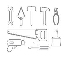 verzameling van set iconen bouwhulpmiddelen schetsen stijl vector