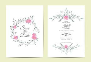 Minimalistische Floral Frame bruiloft uitnodiging instellen Vintage Design Concept. Kaarten Sjabloon Multifunctioneel zoals Poster, Coverboek, Verpakkingen en Overig