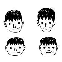 Mensen worden geconfronteerd met cartoon icoon vector