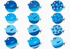blauwe cartoon vis vector pack