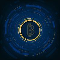 Abstracte Vectorachtergrond van digitale munt Bitcoin voor Technologie, Zaken en Online Marketing