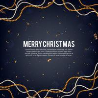 Vectorillustratie van vrolijke gouden en zwarte de kleurenplaats van Kerstmis voor tekst, gouden slinger van de Kerstmisbal, gouden schitter snuisteringsslinger, parelachtige ballenslingers en confetti