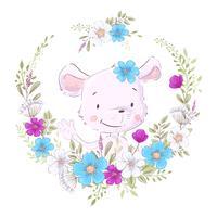 Illustratie van een afdruk voor de kinderkamer van de kinderen schattige muis in een krans van paarse, witte en blauwe bloemen.