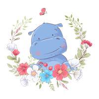 Illustratie van een afdruk voor de kinderkamer van de kinderen schattige nijlpaard in een krans van rode, witte en blauwe bloemen.