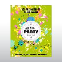 Partij poster met inkt spatten en muzieknoten vector