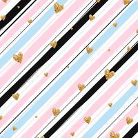 Gouden glinsterende hart confetti naadloze patroon op gestreepte achtergrond
