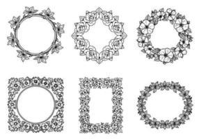 Hand getekend floral frame vector pakket
