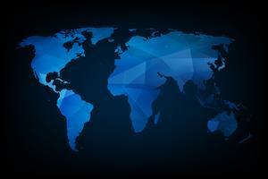 Blauwe geometrische wereldkaart vector