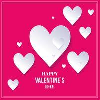 Roze Valentijnsdag achtergrond met witte harten. Witte harten op roze achtergrond. Valentijnsdag achtergrond