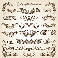 Vintage kalligrafische swirl ornamenten instellen vector