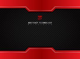 Sjabloon rood en zwart contrast abstracte technische achtergrond.