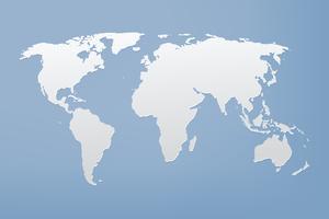 Grijze wereldkaart op blauwe achtergrond