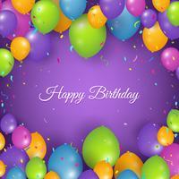 Realistische gelukkige verjaardag achtergrond met ballonnen en confetti