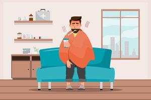 zieke man met een verkoudheid zit in de kamer