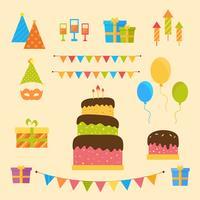 Gelukkige verjaardag en feest elementen