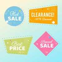 Trendy verkoop geometrische bubbels, platte vormen. Kortingsaanbieding prijsetiketten
