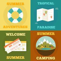 Zomer plat concept. zomer, vakantie, vakantie poster set. kan worden gebruikt voor begroeting en uitnodigingskaart. achtergrond, achtergrond. plat ontwerp. vectorillustratie vector