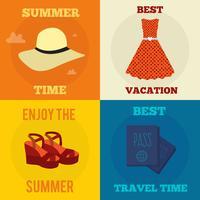 Reeks vector vlakke illustraties van het ontwerpconcept met pictogrammen van reis en vakantie