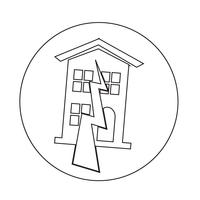 Aardbeving Symbool pictogram