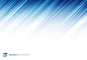 Blauwe abstracte diagonale lijnentechnologie als achtergrond met halftone op witte achtergrond.